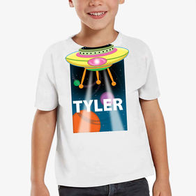 Personalized Kids Alien Spaceship T-Shirt