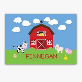 Personalized Kids Animal Farm House Placemat