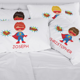 Personalized Kids Character Superhero Pillowcase