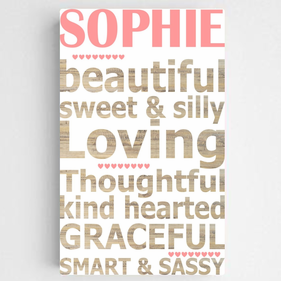 Personalized Kids Definition Canvas Sign-Girl