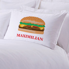 Personalized Initial Cheeseburger Pillow Case