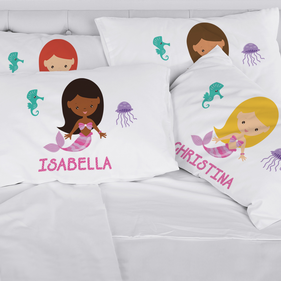 Personalized Kids Character Mermaid Pillowcase
