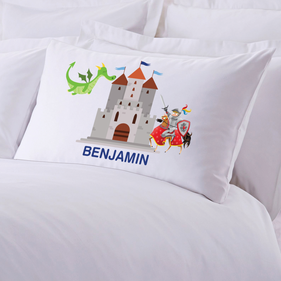 Personalized Knights and Dragons Pillow Case