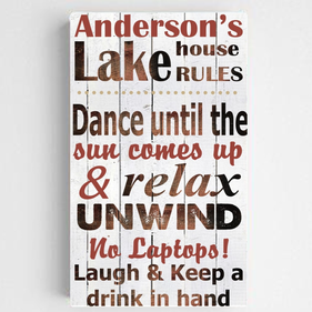 Personalized Lake House Canvas Sign-Red/White
