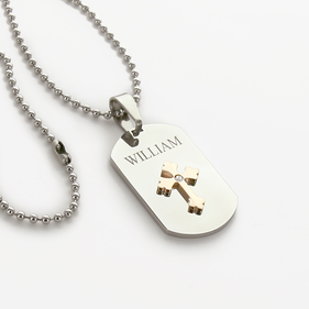 Personalized Large Dog Tag with Cross