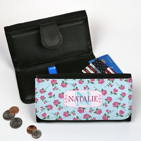 Personalized Large Floral Leatherette Wallet