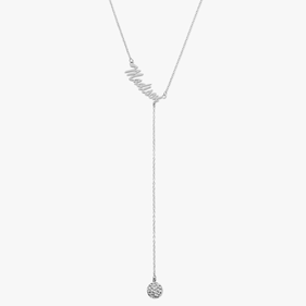 Personalized Lariat Necklace With Crystal Ball