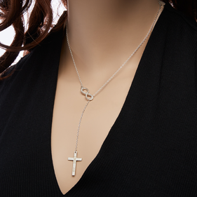 Personalized Lariat Necklace with Infinity Sign & Cross
