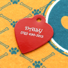 Personalized Heart Red Dog Tag