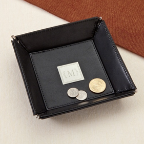 Personalized Leather Change Tray