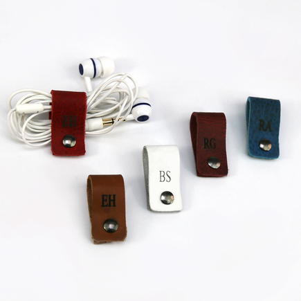 Personalized Leather Headphone Cable Organizer