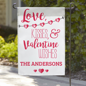 Personalized Love, Kisses, & Valentine Wishes Name Garden Flag