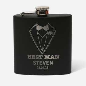 Personalized Matte Black 6 oz. Stainless Steel Flask