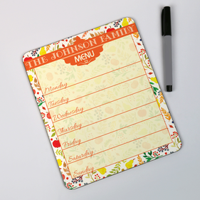 Personalized Dinner Menu Dry Erase Board