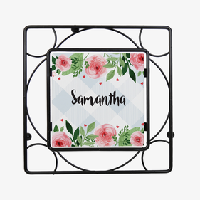 Personalized Metal Flower Trivet