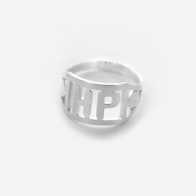 Personalized Modern Sterling Silver Two Initial Ring