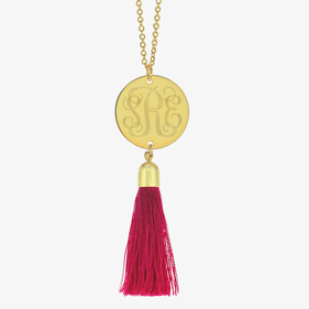 Personalized Monogram Engraved Tassel Necklace