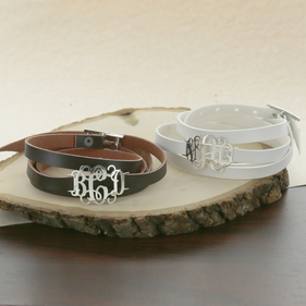 Personalized Monogram Leather Bracelet