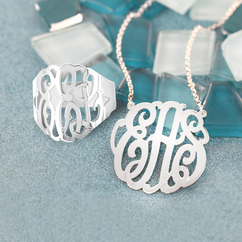 Personalized Monogram Necklace and Ring Set
