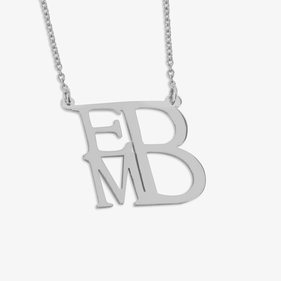 Personalized Monogram Necklace Square Shape in Sterling Silver