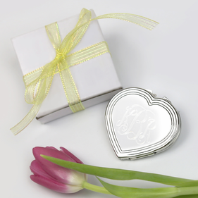 Personalized Monogram Silhouette Heart Compact Gift Boxed