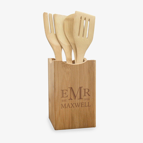 Personalized Monogram Wooden Utensils And Holder Set