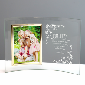 Personalized Jade Glass Crescent With Picture Frame