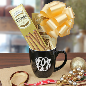"""Warm Wishes"" Hot Cocoa & Cookies Monogram Mug Gift Set"