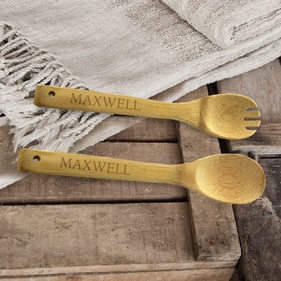 Personalized Name Bamboo Salad Spoon & Spork Set