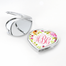 Personalized Monogram Heart Shaped Compact Mirror