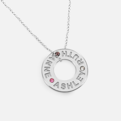 Family Necklace Personalized with Names and Swarovski Birthstones