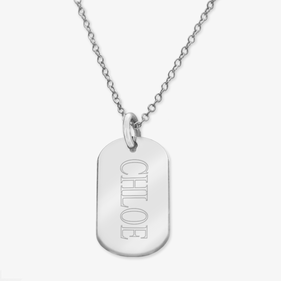 Personalized Name Sterling Silver Oval Necklace
