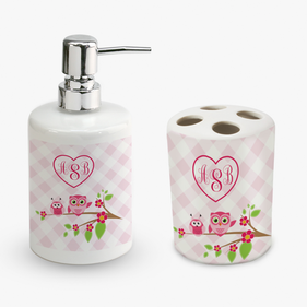 Personalized Owl Friends Soap Dispenser and Toothbrush Holder Set