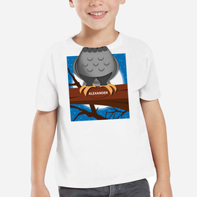 Personalized Owl On A Branch Kids T-Shirt