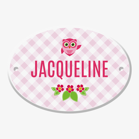 Personalized Owl Oval Door Plate