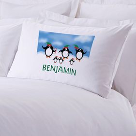 Personalized Penguin Christmas Pillowcase