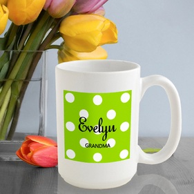 Personalized Mug with Polka Dots