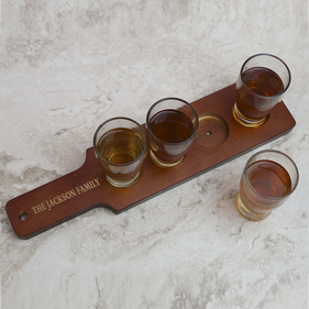 Personalized Red-Brown Finish Wood Beer Flight Sampler Paddle