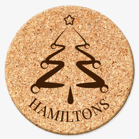 Personalized Christmas Tree Round Cork Coaster