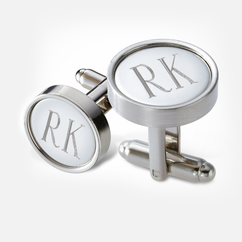 Personalized Round Metal Cufflinks in Black Gift Box