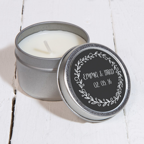 Personalized Round Reef Silver Metal Scented Candle
