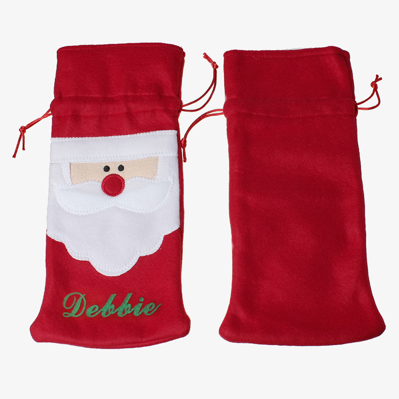 personalized santa wine bottle gift bag shop now