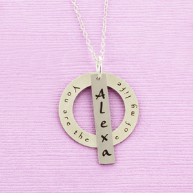 Personalized Satin Circle and Bar Necklace