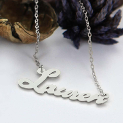 Personalized Script Silver Name Necklace