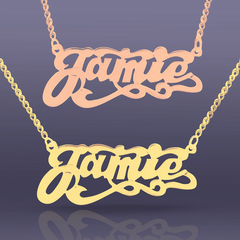 Personalized Scrypt Name Necklace with Tails in Yellow or Rose Gold over Silver