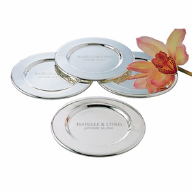 Personalized Set of Four Round Plated Trays