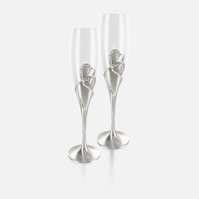 Silver Hearts Wedding Flute Set  of Two