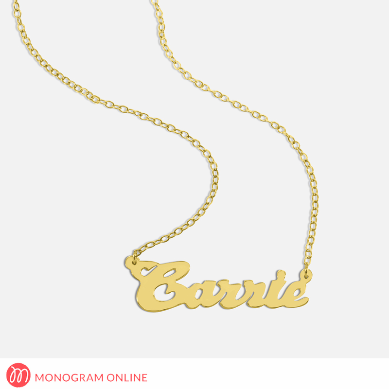 personalized silver name necklace monogram