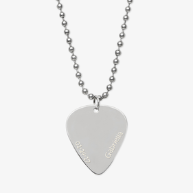 Personalized Silver Significant Other Guitar Pick Necklace