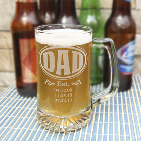 Personalized Date Established Beer Mug for Dad